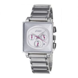 Asics-QA4127301-Reloj-analgico-de-caballero-de-cuarzo-con-correa-de-acero-inoxidable-plateada-sumergible-a-30-metros-0