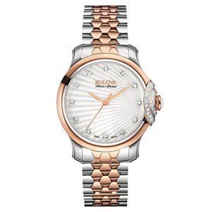 Bulova-Accu-Swiss-bellecombe-34-mm-Reloj-de-cuarzo-para-mujer-con-pulsera-de-acero-inoxidable-de-tono-de-plata-esfera-analgica-pantalla-y-dos-65r164-0