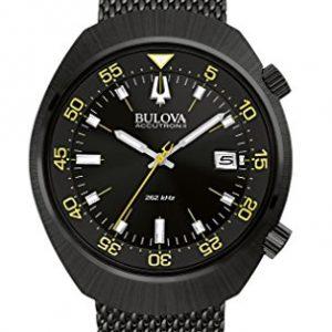 Bulova-Accutron-II-Chaqueta-UHF-Reloj-de-mujer-con-esfera-negra-pantalla-analgica-y-negro-pulsera-de-acero-inoxidable-98b247-0
