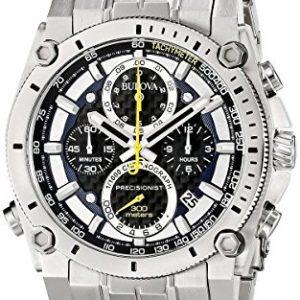 Bulova-Precisionist-Reloj-analgico-de-cuarzo-para-hombres-correa-de-acero-inoxidable-color-plateado-0
