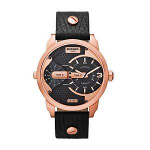 Diesel-DZ7317-Mini-Daddy-Reloj-Reloj-de-hombre-piel-pulsera-de-acero-inoxidable-30-m-Analog-Negro-Ros-0-0