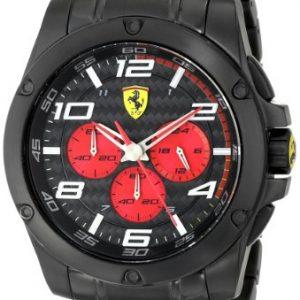 Ferrari-830037-Reloj-de-cuarzo-para-hombre-con-correa-de-acero-inoxidable-color-negro-0