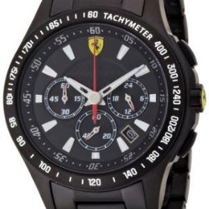 Ferrari-830046-Reloj-analgico-de-cuarzo-para-hombre-correa-de-acero-inoxidable-chapado-color-negro-cronmetro-0