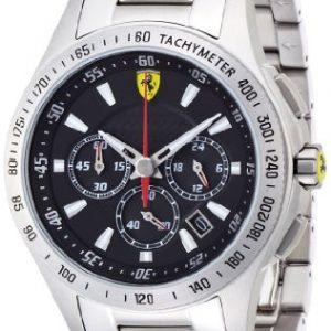 Ferrari-830048-Reloj-analgico-de-cuarzo-para-hombre-correa-de-acero-inoxidable-color-plateado-cronmetro-0