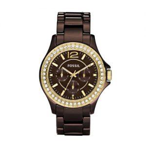 Fossil-Ladies-Sport-CE1044-Reloj-analgico-de-cuarzo-para-mujer-correa-de-cermica-color-marrn-agujas-luminiscentes-0