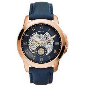 Fossil-ME3054-Grant-Automatic-Reloj-de-pulsera-para-seor-cuero-y-acero-inoxidable-50-m-Analgico-color-azul-0