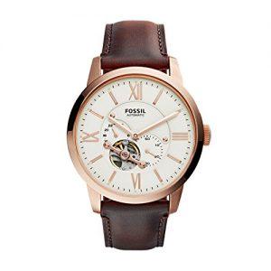 Fossil-ME3105-Reloj-automtico-con-correa-de-cuero-para-hombre-color-blanco-marrn-0
