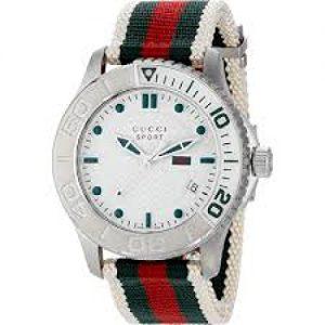 Gucci-G-TIMELESS-SPORT-Reloj-de-cuarzo-para-hombre-con-correa-de-nailon-color-blanco-0