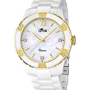 Lotus-Reloj-de-cuarzo-para-mujer-correa-de-cermica-color-blanco-0