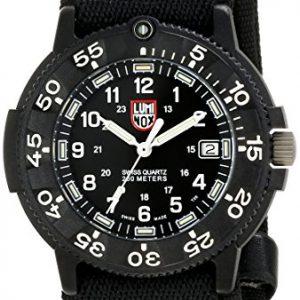 Luminox-3901-Reloj-analgico-de-caballero-de-cuarzo-con-correa-textil-negra-sumergible-a-200-metros-0