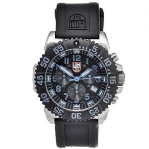 Luminox-A3183-Reloj-analgico-de-hombre-correa-de-caucho-mecanismo-de-cuarzo-y-cristal-mineral-color-negro-y-plateado-0