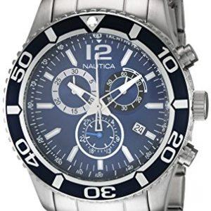 Nautica-0-Reloj-de-cuarzo-para-0-con-correa-de-0-color-plateado-0