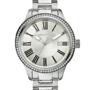 Nautica-A14681M-Reloj-de-cuarzo-para-mujer-con-correa-de-acero-inoxidable-color-plateado-0