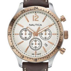 Nautica-A17638G-Reloj-de-cuarzo-para-hombre-con-correa-de-cuero-color-marrn-0