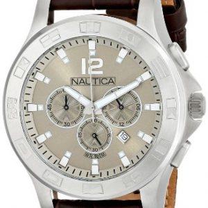 Nautica-A21550G-Reloj-analgico-de-cuarzo-para-hombre-correa-de-cuero-color-marrn-0