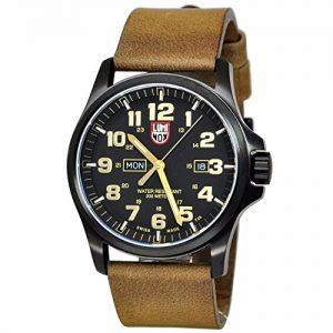 Reloj-de-cuarzo-analgico-Luminox-de-los-hombres-de-la-chaqueta-de-cuero-de-color-marrn-XL1929-0