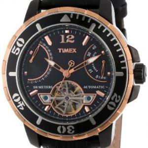 Timex-Hombre-t2-m9316-K-SL-Series-Rose-Gold-Tone-Reloj-Automtico-Acero-inoxidable-y-piel-color-negro-0