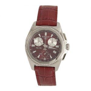Tissot-PRC-100-Reloj-de-cuarzo-para-mujer-con-correa-de-cuero-color-rojo-0