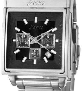 Asics-QA5127101-Reloj-analgico-de-caballero-de-cuarzo-con-correa-de-acero-inoxidable-plateada-cronmetro-sumergible-a-30-metros-0