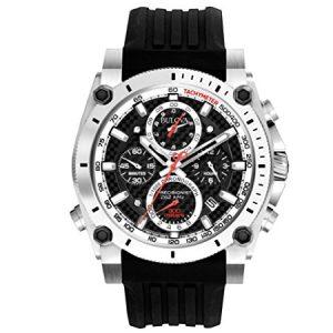Bulova-98B172-Reloj-analgico-de-cuarzo-para-hombres-correa-de-caucho-color-plateado-y-negro-0