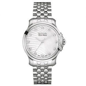 Bulova-Bellecombe-AccuSwiss-34-mm-para-mujer-reloj-infantil-de-cuarzo-con-plateado-esfera-analgica-y-plateado-correa-de-acero-inoxidable-de-63R147-0