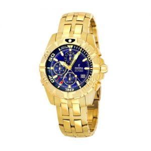 FESTINA-F161192-Reloj-de-caballero-de-cuarzo-correa-de-acero-inoxidable-color-oro-con-alarma-0