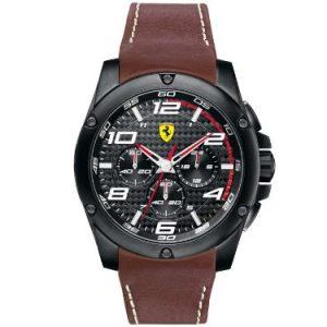 Ferrari-830029-Reloj-analgico-de-cuarzo-para-hombre-correa-de-cuero-color-marrn-cronmetro-0