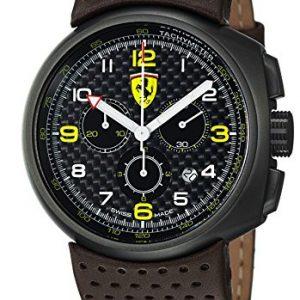 Ferrari-F1-Classic-fe-10-ipg-un-cp-fc-44-mm-de-acero-inoxidable-Color-Marrn-Novilla-Mineral-Reloj-para-hombre-0