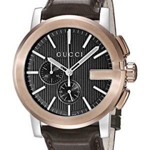 Gucci-YA101202-Reloj-de-cuarzo-unisex-con-correa-de-acero-inoxidable-color-marrn-0
