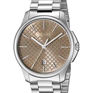 Gucci-YA126317-Reloj-para-hombre-con-correa-de-acero-inoxidable-de-color-marrn-0