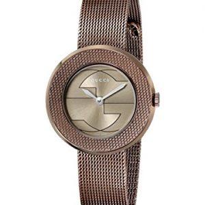 Gucci-YA129520-Reloj-de-cuarzo-para-mujer-correa-de-acero-inoxidable-color-marrn-0