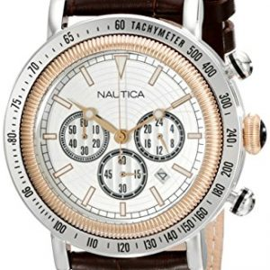 Nautica-Caballero-N15006G-Leather-Quartz-Reloj-with-Silver-Dial-0