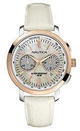 Nautica-N19579M-Reloj-para-mujeres-correa-de-piel-de-borrego-color-blanco-0