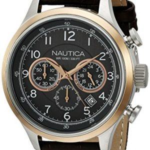 Nautica-a16686g-NCT-16-Reloj-Hombre-Cuarzo-Analgico-Esfera-gris-Pulsera-Piel-Marrn-0