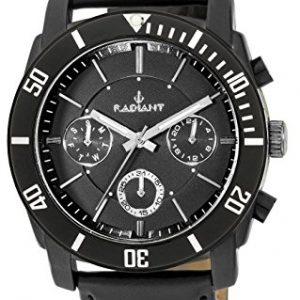 Ref-RA335601-Reloj-Radiant-Caballero-multifuncin-caja-de-acero-negra-correa-de-cuero-negra-sumergible-50-metros-garanta-2-aos-0