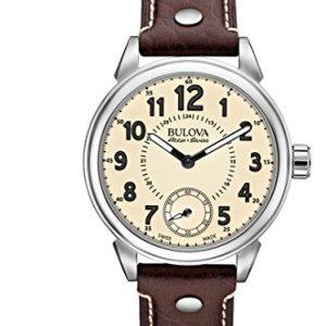 Reloj-Mecnico-Bulova-Para-Hombre-Con-Beige-Analogico-Y-Marrn-Cuero-63A121-0