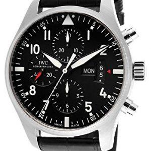 Reloj-de-piloto-para-hombre-crongrafo-esfera-negra-correa-de-piel-de-caimn-autntica-color-negro-0
