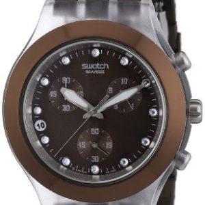 Swatch-DIAPHANE-CHRONO-Reloj-analgico-de-caballero-de-cuarzo-con-correa-de-acero-inoxidable-marrn-cronmetro-sumergible-a-30-metros-0